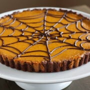pumpkinchocolatespiderwebtart