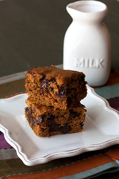 Almost Healthy Pumpkin Chocolate Chip Squares