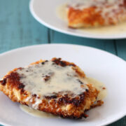 Pretzel Crusted Chicken with Cheesy Beer Sauce from HandletheHeat.com