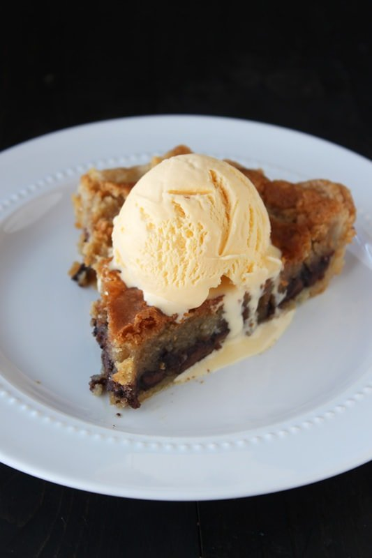 Chocolate Chip Cookie Pie is warm, gooey, and best served with ice ...