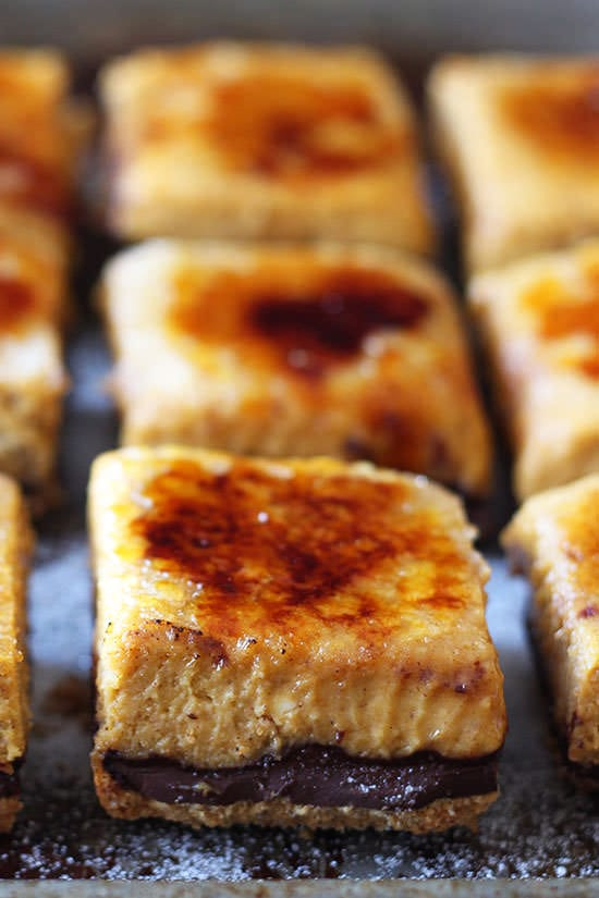 Creme Brule Pumpkin Chocolate Cheesecake Bars are SO much better than ...
