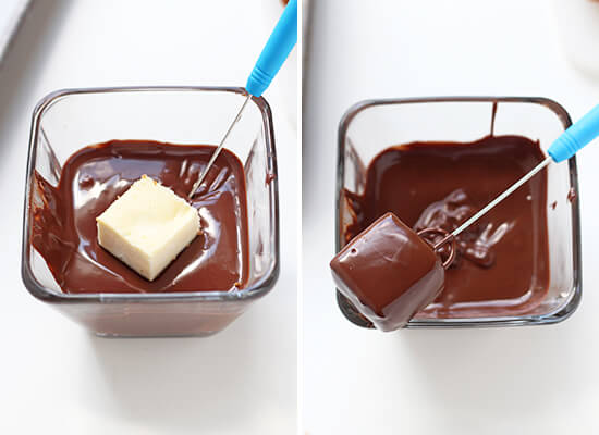 Chocolate Covered Cheesecake Bites - Handle the Heat